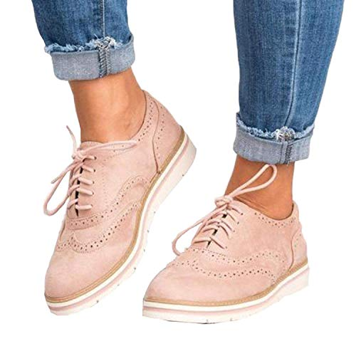 Susanny Women's Wigtips Oxfords Platform Lace Up Brogues Slip on Perforated Spring Shoes Pink 10 B (M) ()