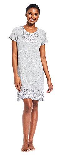 Kathy Ireland Womens Cap Sleeve V-Neck Pajama Lounge Nightgown Dormshirt New Heather Grey Large