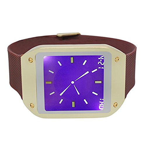 Techno Pave Digital Touch Screen Gear Square Face Gold with Brown Rubber Band Watch