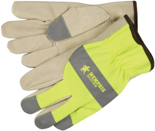 MCR Safety 3407XXL Grain Pigskin Driver Select Grade Gloves with Keystone Thumb and Silver Fingertips, Cream/Lime, 2X-Large, 1-Pair