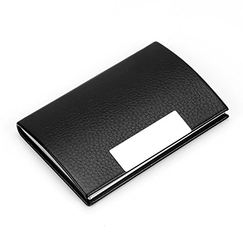 - Business Card Holder Luxury PU Leather & Stainless Steel Card Case, Business Name Card Holder Wallet Credit Card ID Case for Men/Women (Black)
