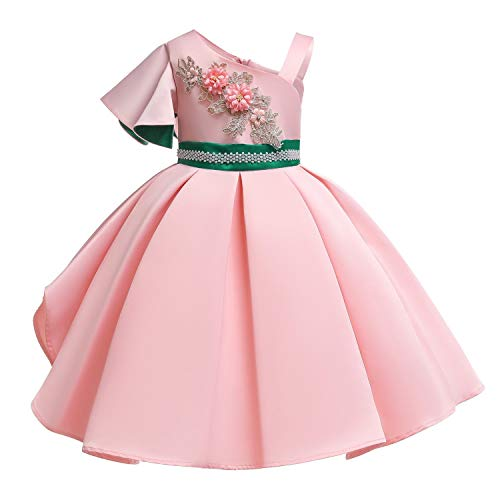 One Shoulder Printed Dress for Girls Princess Flower Wedding Pageant Party Dresses,Pink3,6