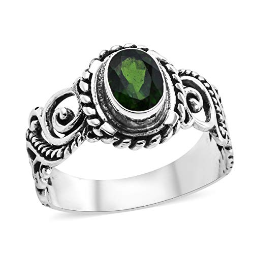 Solitaire Ring 925 Sterling Silver Oval Chrome Diopside Gift Jewelry for Women Size 8 Cttw 1 ()