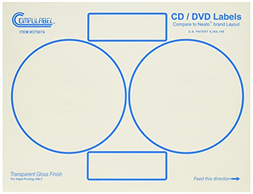 Compulabel Clear Gloss CD/DVD Labels for Inkjet Printers, Comparable to Neato, 4.65-Inch Permanent Adhesive, 2 Per Sheet, 100 Sheets per Carton