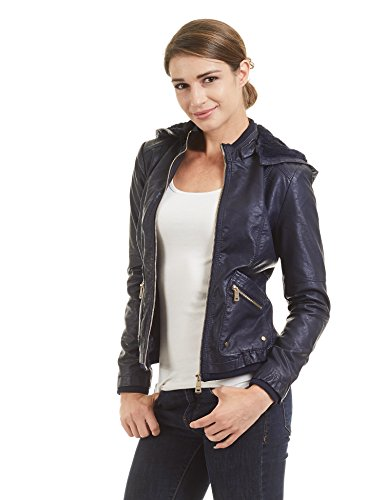 WJC1424 Womens Faux Leather Inner Fleece Hoodie Jacket S NAVY by Lock and Love (Image #3)
