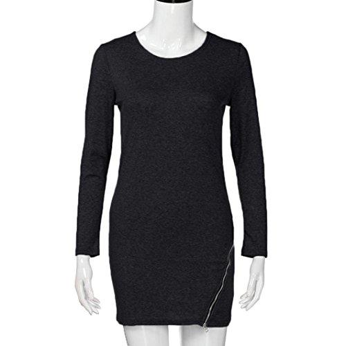 Women Zipper BlouseMITIY Long Sleeve O Neck Female Side Split Pullovers Tops -
