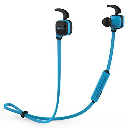 Ahyuan CCK-KS Wireless Bluetooth V4.1 CCK-KS Headphone Sports Sweatproof Ear Hook Earphones DPS Intelligent Noise Reduction Stereo Bass Earbuds with Mic for Running (Blue)