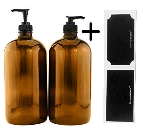 Cornucopia Brands 32-Ounce Amber Glass Lotion Pump Bottles ;