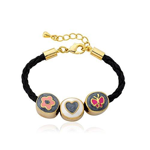 Little Miss Twin Stars Jewel Bandz 14k Gold-Plated Enamel Flower Heart Butterfly Slides On Black Braided Leather Bracelet/ (14k Enamel Slide)