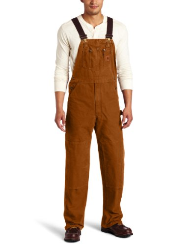 - Carhartt Men's Sandstone Bib Overalls Unlined,Carhartt Brown,38 x 32