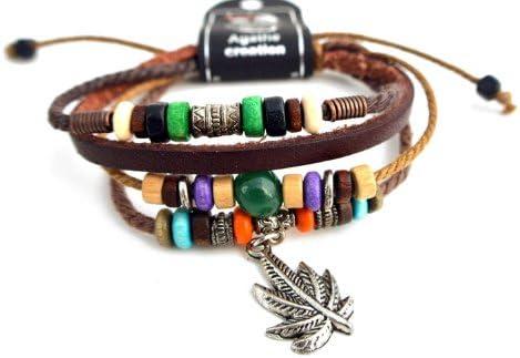 Agathe Creation n02225suerte tibetano pulsera con plata tibetana colgante de hoja de marihuana–cáñamo, piel con madera/metal/verde ágata piedra Beads–Multicolor–hecho a mano