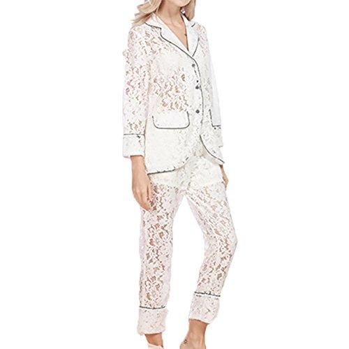 YUYU Mujeres La manga larga Hueco de Encaje Suave Cómodo Juego de dos Pijamas Dos colores White