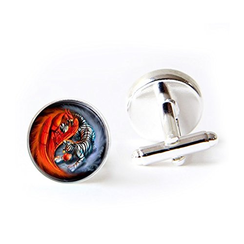 LEO BON Mens Classy Cufflinks Phoenix Tiger Deluxe Wedding Business Cuff Links Movement Shirts Studs Button from LEO BON
