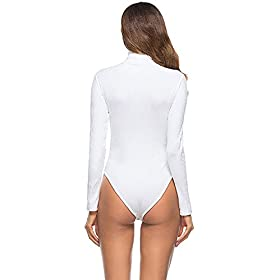 - 4118ny WjeL - Queen.M Women's Basic Solid Bodysuit Turtleneck Leotard Top Long Sleeve Bodycon Jumpsuit Stretchy Romper