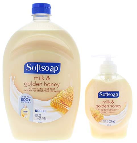 Softsoap Milk & Golden Honey Moisturizing Hand Soap 50 Fl. Oz. + 7.5 Fl. Oz Pump Bottle ()