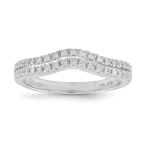 Diamond2Deal Diamond Wedding Band Ring for Women in 14K White Gold 0.25cttw (7) by Diamond2Deal