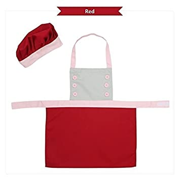 Bling Story Cotton Canvas Kids Chef Aprons and Hat Set (M-L) (M, Red) JY Shop