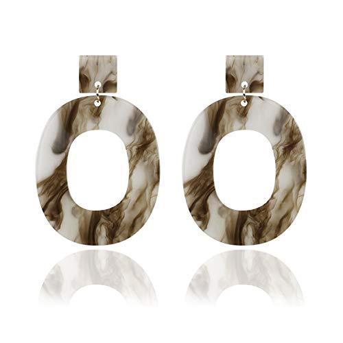 Clear Acrylic Earrings Circle Women Colorful Big Oval Dangle Earrings DIY Jewelry Ear Clip (brown)