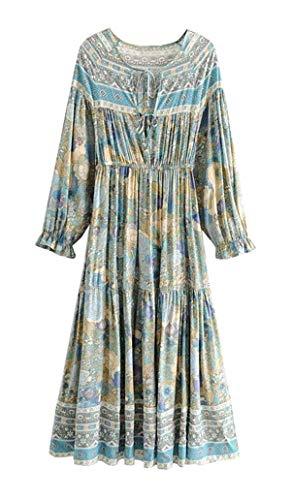 (R.Vivimos Women's Cotton Long Sleeve Ruffles V Neck Front Lace Up Floral Print Midi Dress (Small,)