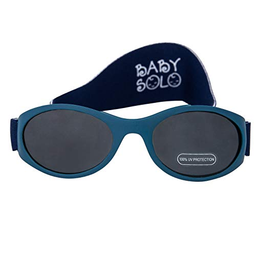 Baby Solo Babyfarer Baby Toddler Sunglasses/Infant Newborn Sunglasses (0-36 months, Matte Midnight Blue Frame w/Solid Black ()