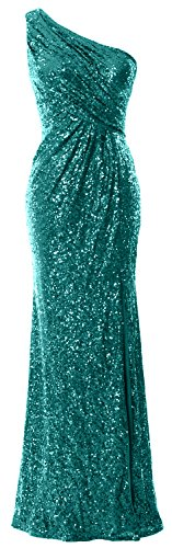 MACloth Dress Sequin One Mermaid Gown Long Women Formal Evening Shoulder Prom Teal rIXwSrx