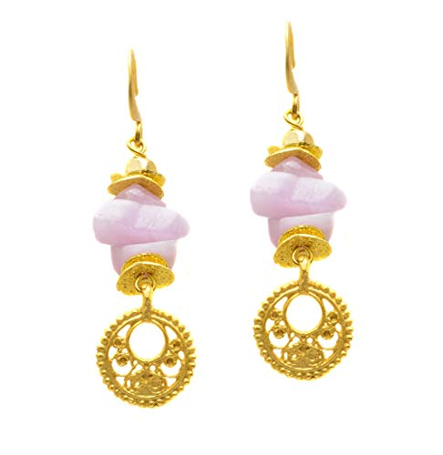 - Stacked Pink Kyanite Matte Gold Plated Circle and Spacer - Dangle Earrings