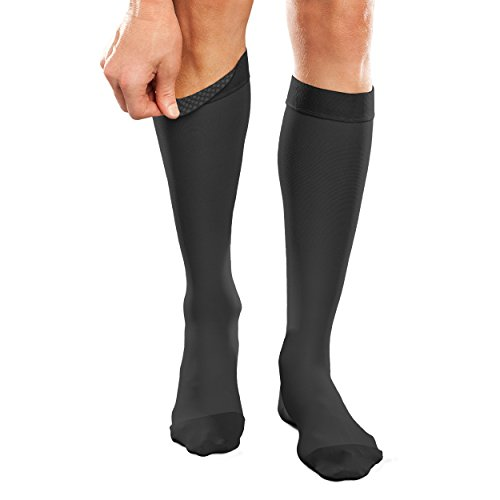Therafirm Opaque Silicone Support Band Knee Highs - 20-30mmHg Moderate Compression Stockings (Black, Large Short)