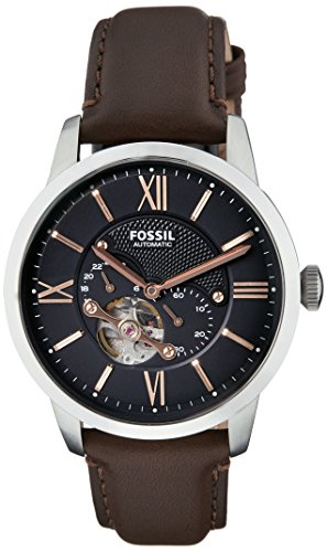Fossil Men's ME3061 Townsman Mechanical Stainless Steel Watch with Brown Leather Band ()