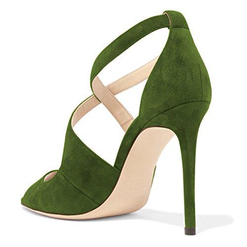 Kompani Kvinnor Sexig Faux Mocka Sandaler Peep Toe Stilettklackar Pumpar Kors Rem Utklipp Skor Storlek 4-15 Oss Grönt