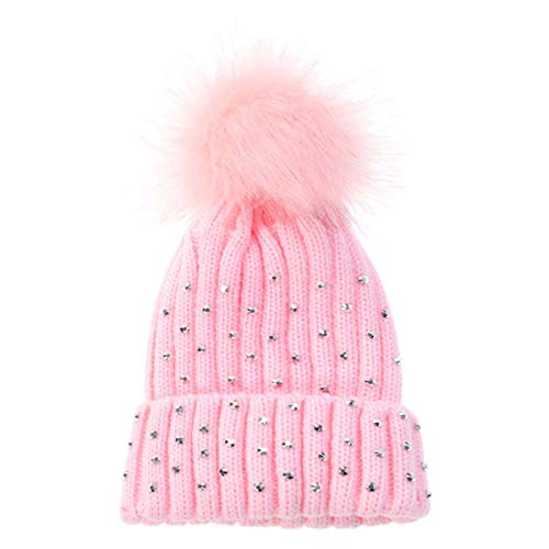 Children's Drill Wool Hat Big Hair Ball Autumn Winter Knit Hat Baby Hat Baby Cap (Pink) (Wool Hat Drill)