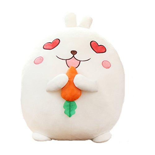 Ins Lovely Cartoon Cute White Rabbit Stuffed Animals 3D Pom Plush Lumbar Soft Big Hugging Figure Bolster Bed Cushion Nursery Home Office Decoration Baby Play Toy Sleeping Neck Throw Pillow Gift by ORGEN HOME