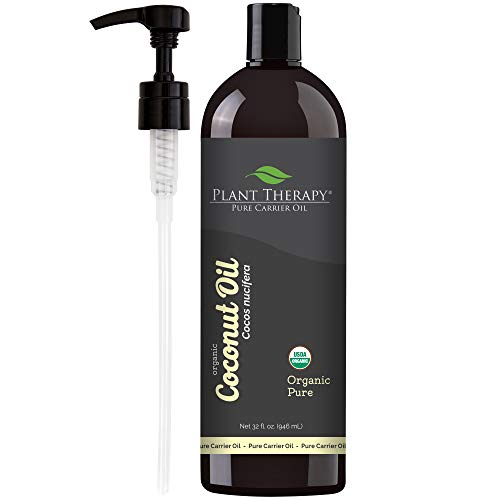 Plant Therapy Essential Oils Organic Fractionated Coconut Oil For Skin, Hair, Body 100% Pure, USDA Certified Organic, Natural Moisturizer, Massage & Aromatherapy Liquid Carrier Oil 32 oz, Pump In (Make Your Own Lotion With Coconut Oil)