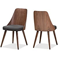 Baxton Studio Romily Mid-Century Modern Walnut Wood Dark Grey Fabric Dining Chair