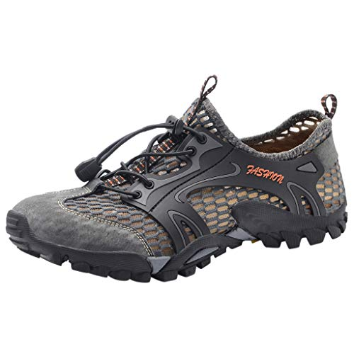 Haalife◕‿¿Men's Sandals Barefoot Hiking Shoes Quick Dry Breathable Mesh Lightweight Outdoor Training Water Walking Shoes Gray
