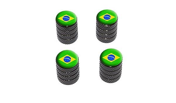 Tire Rim Wheel Valve Stem Caps Black Brazil Flag