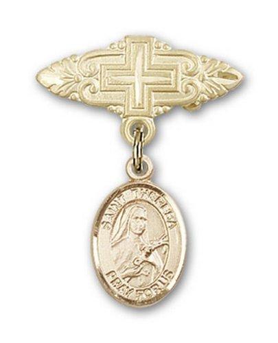Icecarats Or Bijoux De Créateurs Rempli R. Theresa Broche De Badge Charme Avec Une Croix X 3/4