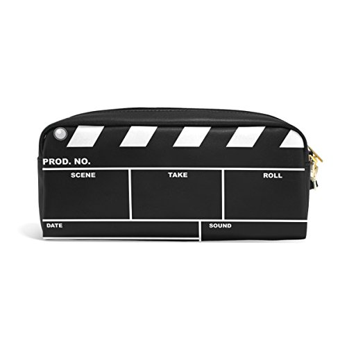 ZZKKO Movie Clapboard Leather Zipper Pencil Case Pen Stationary Bag Cosmetic Makeup Bag Pouch Purse by ZZKKO