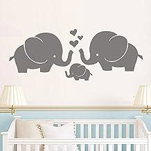 Baby Boy or Girl Family Vinyl Wall Decal Baby Elephant With Parents Wall Art Elephant Family Wall Decor (Gray,s)