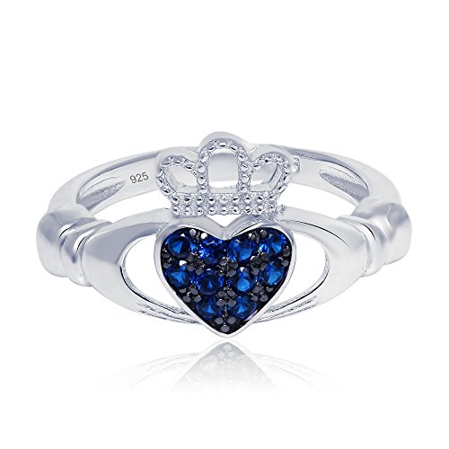 Sterling Silver Claddagh Promise Ring For Her with Simulated Blue Sapphire, 11mm (9) ()