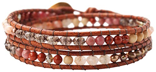 (Chan Luu Smokey Quartz Mix Double Wrap Semi Precious Stones Leather Bracelet)