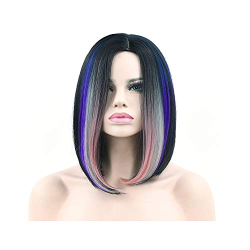 Synthetic Hair Black to Burgundy Ombre Hair Short Bob Costume Wigs Straight Party Hair Grey Cosplay Wig for -