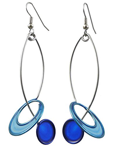 Kinetic Sculpture Inspired Stainless Steel Art Earrings, Two Blue Halo Drop