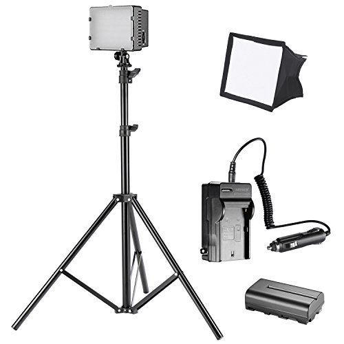 Neewer CN-160 LED Continuous Digital Camera / Camcorder Photo Video Lightning Kit, Includes: 160 LED Dimmable Ultra High Power Panel Light, 6 feet/1.9 meters Light Stand, Softbox, Battery and Charger by Neewer