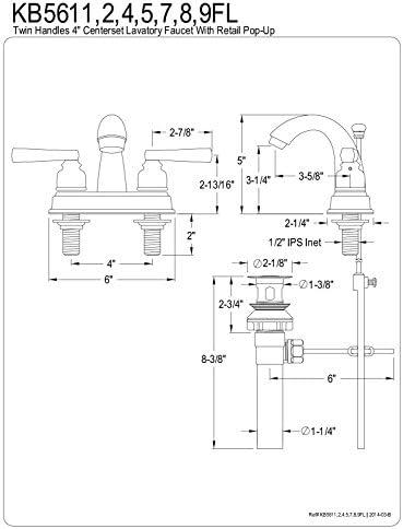 Kingston Brass KB5615FL 4 Centerset Lavatory Faucet with High Rise Spout, Oil Rubbed Bronze, 3-5 8 Spout Reach