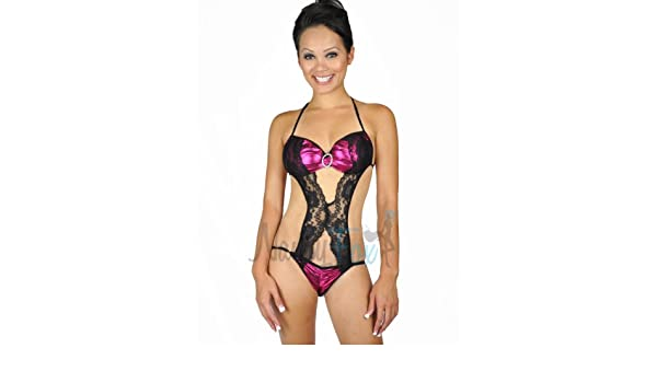 dab06610d Amazon.com  Nawty Fox Laced Monokini One Piece Teddy Lingerie  Adult Exotic Teddies  Lingerie  Clothing