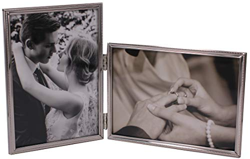 Double Photo Frame (LEADEX Vertical Horizontal Combo- Double 4 by 6 Inch Metal Folding Picture Frames-(1 Landscape and 1 Portrait Style))