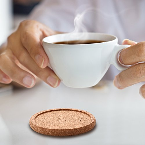 TecUnite 12 Pack Cork Coasters Round Absorbent Drink Coasters for Home Restaurant Office and Bar, 4 Inches by TecUnite (Image #3)