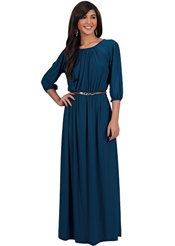 Half Sleeve Floor - KOH KOH Plus Size Women Long 3/4 Sleeve Sleeves Vintage Autumn Fall Winter Flowy Formal Evening Work Office Modest Peasant Cute Abaya Gown Gowns Maxi Dress Dresses, Blue Teal XL 14-16 (3)