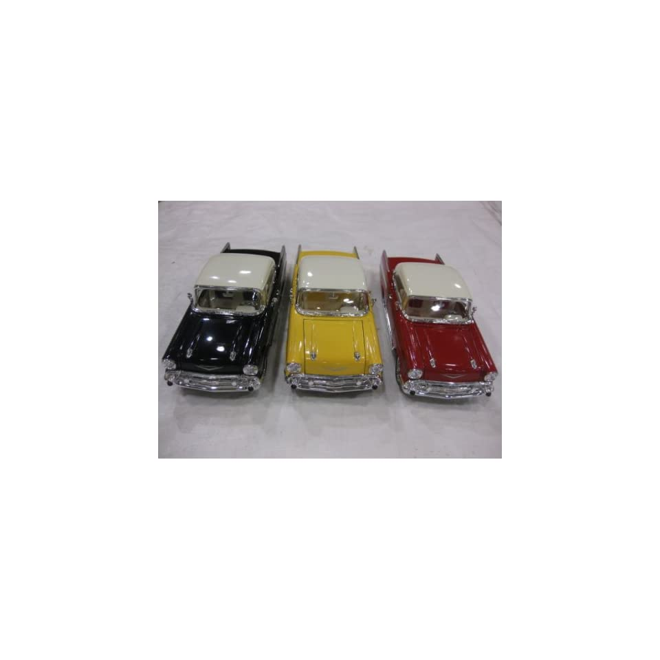 Diecast 1957 Chevy Bel Air Dub Series Edition in a 124 Scale with Opening Doors & Hood Available in Black ,Red and Yellow While Supplies Last Manufactured by Superior
