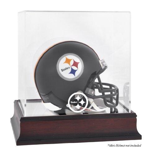 Pittsburgh Steelers Mahogany Mini Helmet Logo Display Case